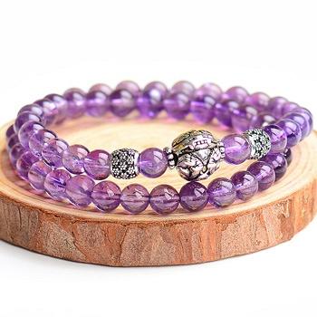 中国•漂亮百合 925银紫水晶手链 貔貅