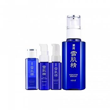 日本•雪肌精恒润雪颜护肤4件组(乳液130ml+洗颜乳20ml+化妆水24ml+乳液20ml)