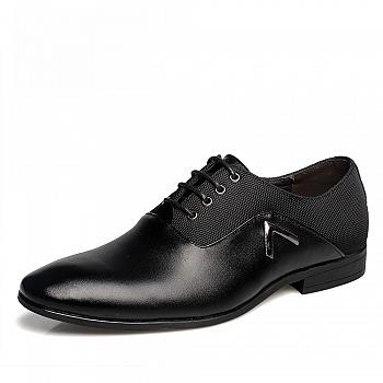 中国•承发商务英伦尖头皮鞋 黑色
