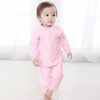 中国•优奇 婴儿彩棉前开襟套装 红