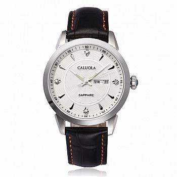 中国•卡罗莱银壳白面石英男士防水手表