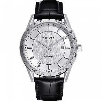 中国•卡罗莱白面牛皮表带男士休闲腕表