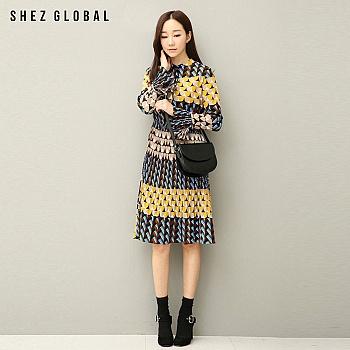 中国•韩版SZ修身印花百褶连衣裙