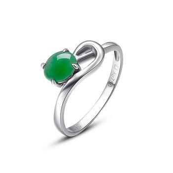 今上珠宝 18k金冰种翡翠女戒指