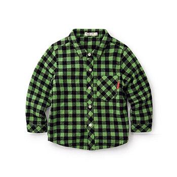 中国•Minizone春秋休闲格子衬衣 绿黑格子