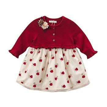 davebella女童装针织玫瑰连衣纱裙