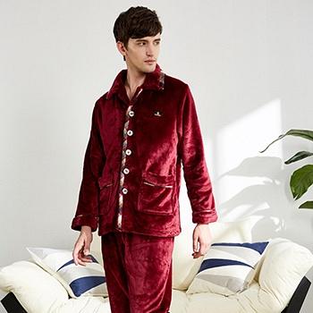 中国•芬腾冬季男纯色珊瑚绒家居服套装