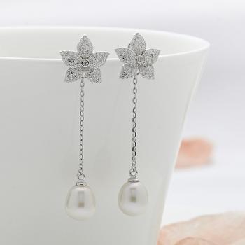 漂亮百合 925银镶石珍珠两戴耳钉