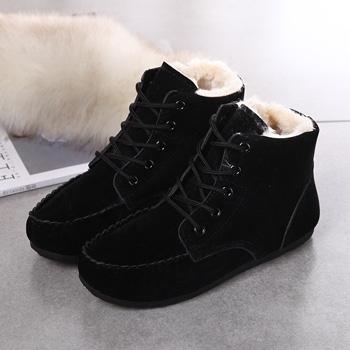 中国•秋冬豆豆鞋女鞋短筒加绒短靴黑色