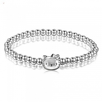 中国•925银凯蒂猫配银圆珠手链