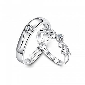 中国•纯银开口情侣戒指一对
