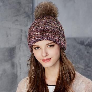 中国•kenmont全羊毛帽子毛球毛线帽9048