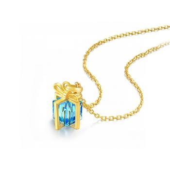 阿梵尼 足金项链女蓝色宝石魔方
