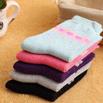 赛棉 5双装兔羊毛爱心女袜保暖袜