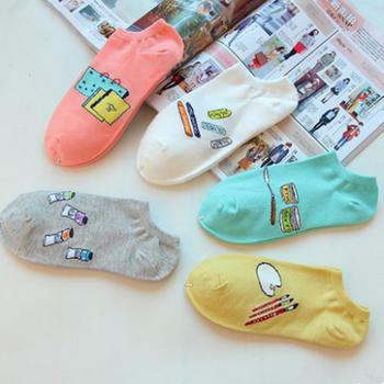 派来丝 春女创意棉短袜5双礼盒装