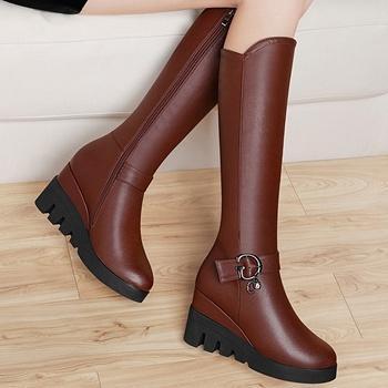 过膝长靴高筒女靴子冬坡跟长筒靴