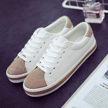 春季帆布鞋女生系带小白鞋