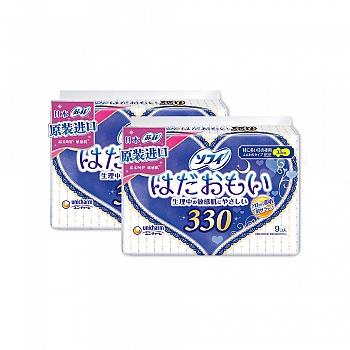 日本•苏菲SOFY卫生巾温柔肌夜用纤巧330mm*9片(日本原装进口)*2包