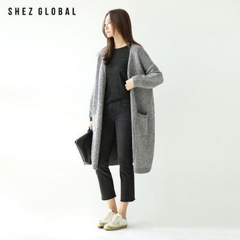 中国•韩版SZ春新款宽松中长款针织开衫