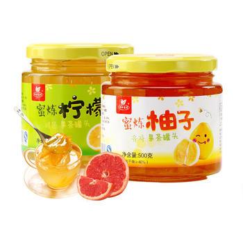 杯口留香蜂蜜柠檬茶+柚子茶 送勺