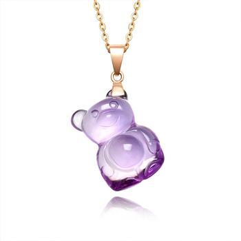 阿梵尼  18K金紫水晶泰迪熊项链