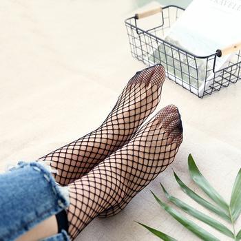 赛棉 4双装网格镂空渔网袜中筒袜