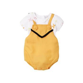 Augelute夏季宝宝泡泡袖上衣连身短裤两件套