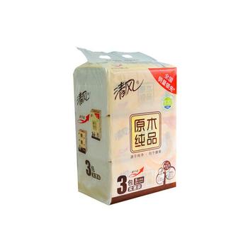 中国•清风原木纯品3连包200抽抽纸