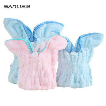 三利兔子耳朵干发帽 亲子款发巾