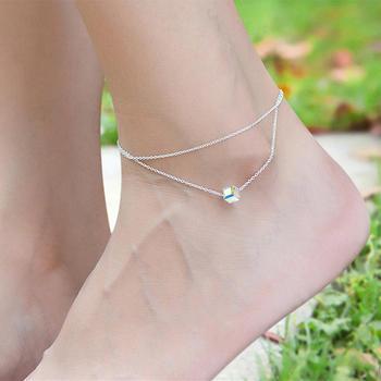 戴拉  S925银方糖仿水晶双层脚链