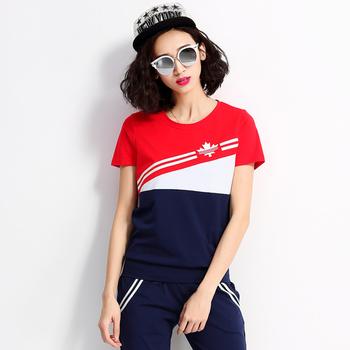 中国•自由呼吸新款拼接潮短袖套装大红