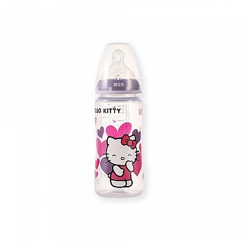德国•NUK300ML宽口PP彩色Hello Kitty奶瓶(带初生型硅胶中圆孔奶嘴)