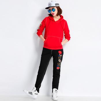 自由呼吸韩范时尚卫衣套装女大红