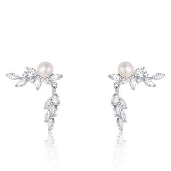 漂亮百合925银淡水珍珠锆石耳钉耳坠 树叶