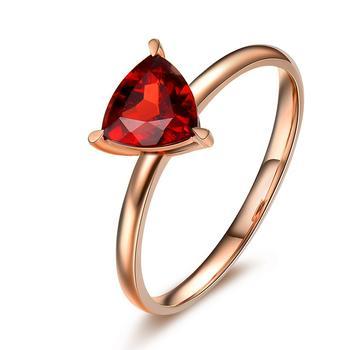 今上珠宝18K金戒指女石榴石三角形