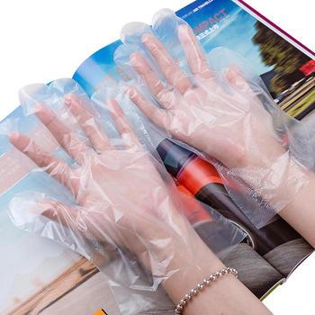 态美 加厚透明塑料PE薄膜手套一次性手套餐饮吃龙虾手套