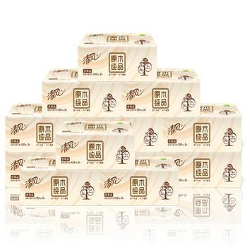 清风原木3层130抽12包软包抽纸