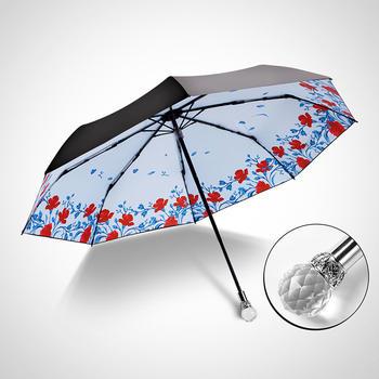 德国iRain三折花语黑胶防晒晴雨伞