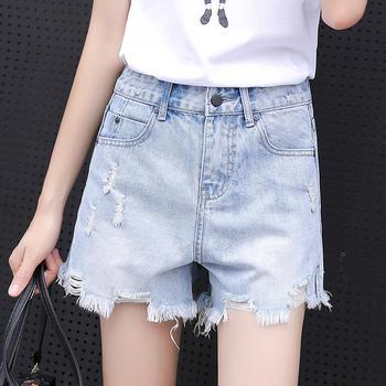 可奈丽莎不规则破洞流苏牛仔短裤女夏季直筒阔腿热裤