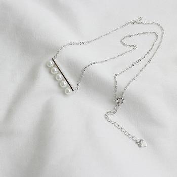 中国•IKEWA韩版S925纯银手工一排贝珠项链