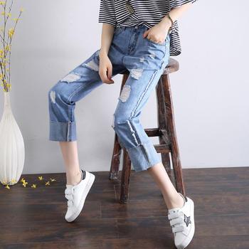 破洞女装牛仔裤W1005时尚新品宽松