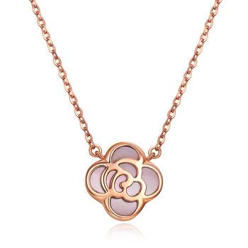 今上珠宝 18K金粉贝玫瑰项链女