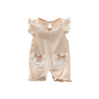 Cipango婴儿有机棉爱心口袋连体衣