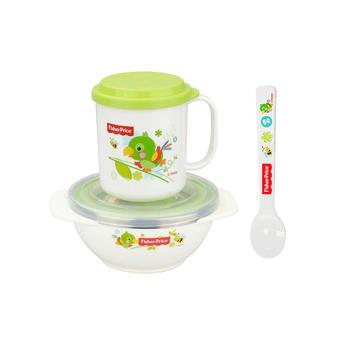 费雪儿童餐具饭碗勺水杯套装绿色