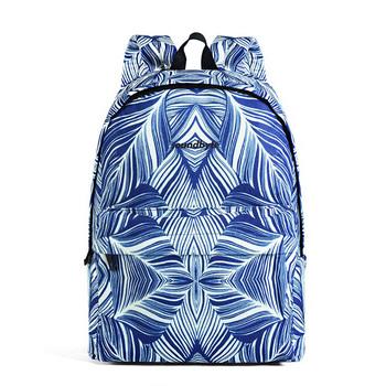 DRA格子学院风蓝色矩形印花双肩包
