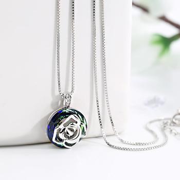 戴拉 925银玫瑰花水晶短款锁骨链