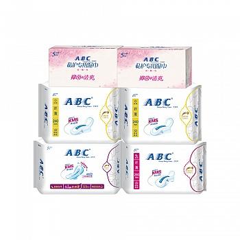中国•ABC棉柔透气加长夜用卫生巾旅行装 4包(日16片+夜8片+加长夜用3片)加ABC私护专用湿巾2包(5片/包)