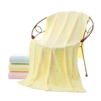 态美 小熊印花浴巾纤维大浴巾
