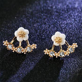 戴拉 925银针气质花朵耳钉耳环女时尚两戴法耳?#21368;?#39280;