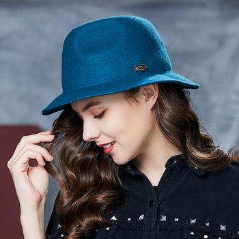卡蒙可折叠礼帽女爵士帽毛呢帽子